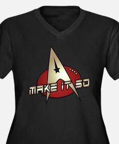 Make It So Star Trek Women's Plus Size V-Neck Dark
