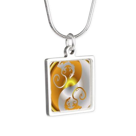 Zen Dragons Silver Square Necklace