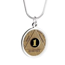 1 YEAR COIN Silver Round Necklace