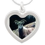 Mountain Sheep Silver Heart Necklace