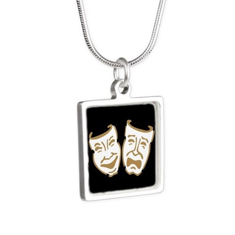 Drama Masks Silver Square Necklace