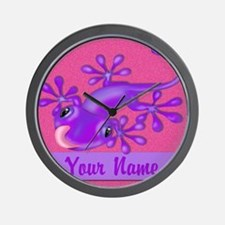 Pink Purple Personalized Gecko Wall Clock