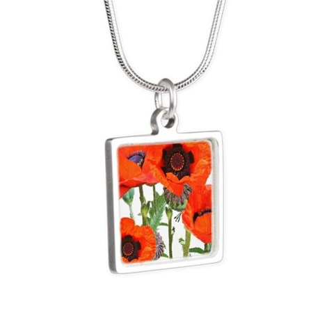 Red Poppies Silver Square Necklace