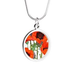 Red Poppies Silver Round Necklace