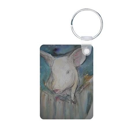 Piglet, animal art! Aluminum Photo Keychain
