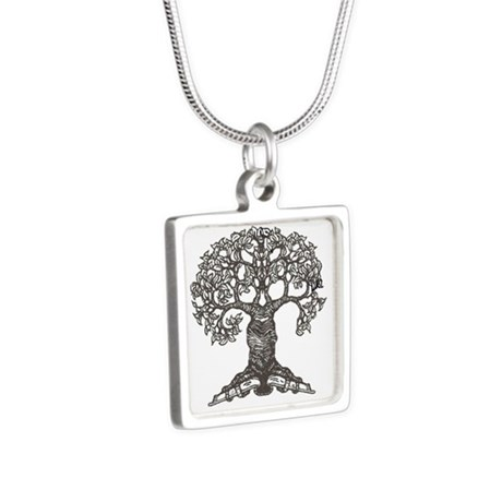 The Reading Tree Silver Square Necklace