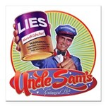 """Uncle Sams Canned Lies Square Car Magnet 3"""" x"""