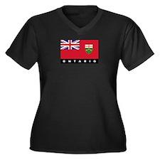 Ontario Flag Women's Plus Size V-Neck Dark T-Shirt
