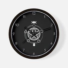 Dark Elemental Pentagram Wall Clock