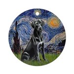 Starry - Black Labrador Ornament (Round)