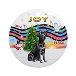 XMusic1-Black Labrador Ornament (Round)