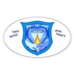 2 Souls 1 Heart Oval Sticker