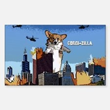 Corgi-zilla Oval Decal