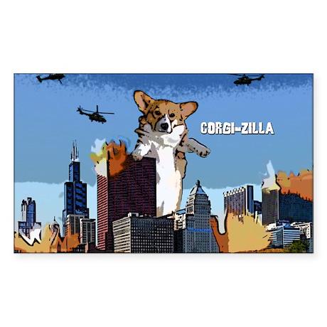 Corgi-zilla Oval Sticker