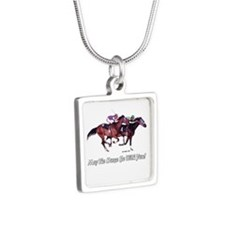 May The Horse Be With You Silver Square Necklace
