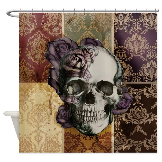 Victorian Skull And Roses Shower Curtain By Psychobillyjane