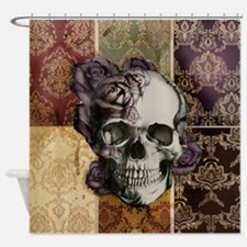 Victorian Skull and Roses Shower Curtain