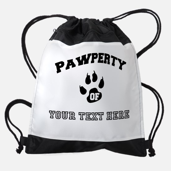 Personalized Cat Pawperty Drawstring Bag