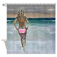 Bikini Girl on Beach Sexy Shower Curtain