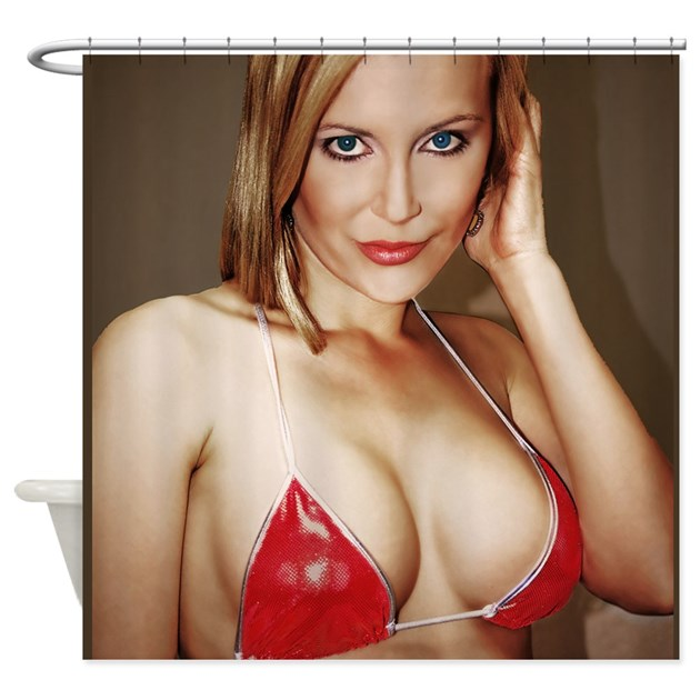 Red Bikini Girl Sexy Shower Curtain By Leimagerie