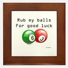 Rub My Balls for Luck Framed Tile