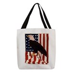 Bald Eagle and Flag Polyester Tote Bag