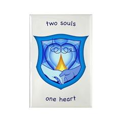 2 Souls 1 Heart Rectangle Magnet
