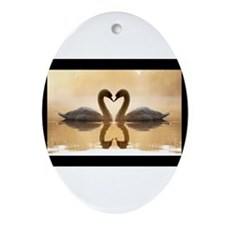 Love Swans Ornament (Oval)