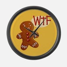 gingerbread-wtf_tile.png Large Wall Clock