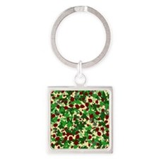 Ladybugs and Ivy on Sunny Yellow Square Keychain