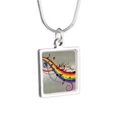 Mixed color musical notes 2 Silver Square Necklace