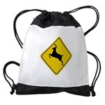 deer-crossing-sign.... Drawstring Bag
