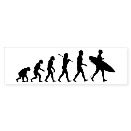 Human Surfer Evolution Sticker (Bumper)