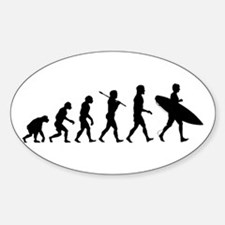 Human Surfer Evolution Sticker (Oval)
