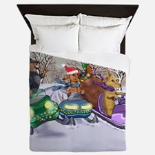 Snowmobiling Dachshunds Queen Duvet