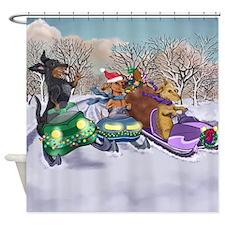 Snowmobiling Dachshunds Shower Curtain