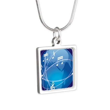 Mixed Musical Notes (world) Silver Square Necklace