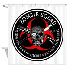 Zombie Squad 3 Ring Patch outlined Shower Curtain