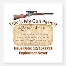 "My Gun Permit Square Car Magnet 3"" x 3"""