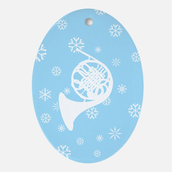 French Horn Snowflake Ornament (Blue Oval)