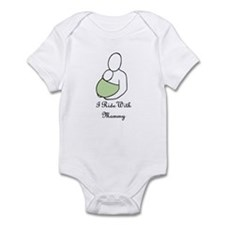 Ride With Mommy Green Infant Bodysuit