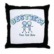 CUSTOM TEXT Besties (blue) Throw Pillow