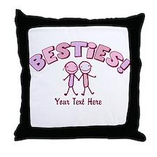 CUSTOM TEXT Besties (pink) Throw Pillow