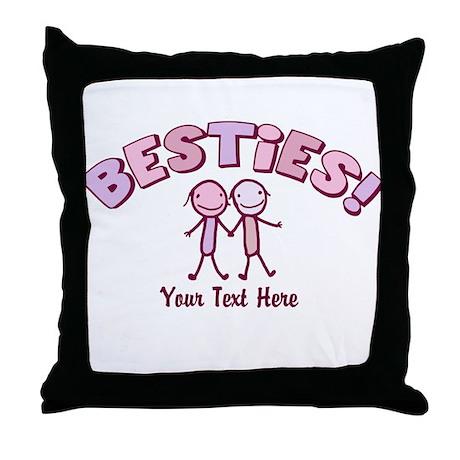custom text besties pink throw pillow