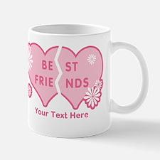 CUSTOM TEXT Best Friends (double heart) Mug