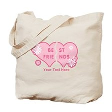 CUSTOM TEXT Best Friends (double heart) Tote Bag