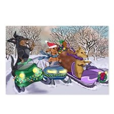 Snowmobiling Dachshunds Postcards (Package of 8)