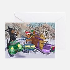Snowmobiling Dachshunds Greeting Cards (Pk of 20)