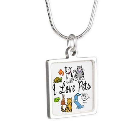 Pet Lover Silver Square Necklace