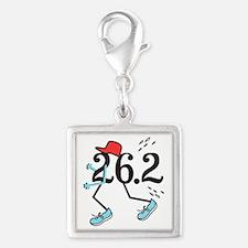 Funny Marathoner 26.2 Silver Square Charm